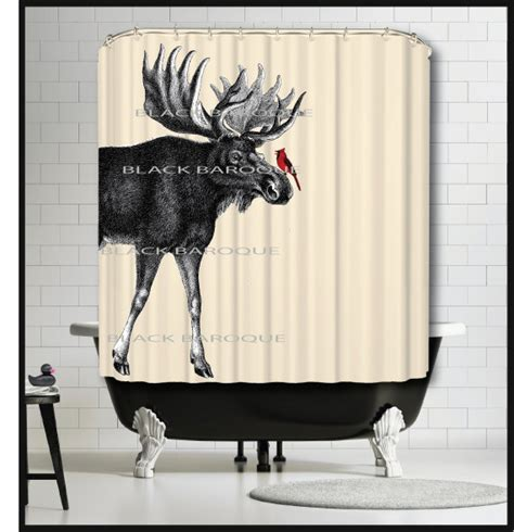 moose shower curtains moose cardinal shower curtain moose animal shower curtains