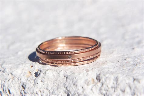 unique wedding bands on etsy stackable gold onewed