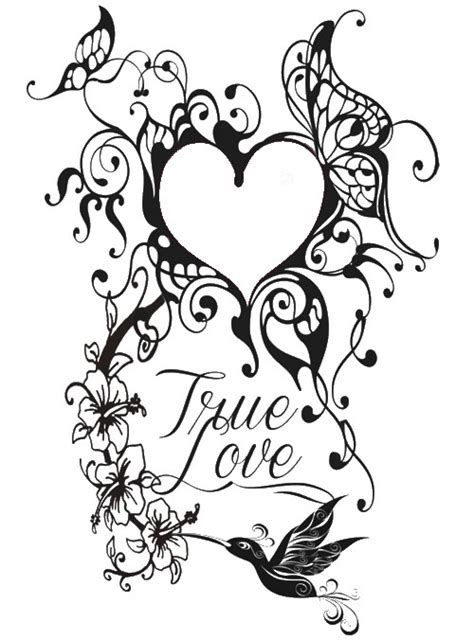 Tattoo Love Coloring Pages | adult coloring page valentine s day tattoo heart 7