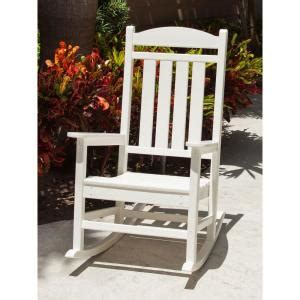 polywood presidential white plastic patio rocking chair polywood presidential white patio rocker r100wh the home