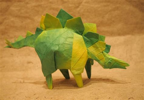 Origami Stegosaurus - this week in origami rabbit coming out the side of a