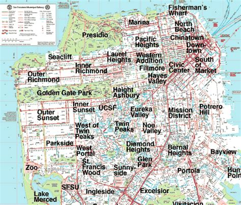 san francisco neighborhoods map with streets housing transportation in around sf for karmapa s