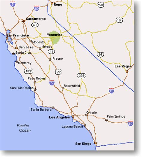 california map near yosemite maps california map yosemite