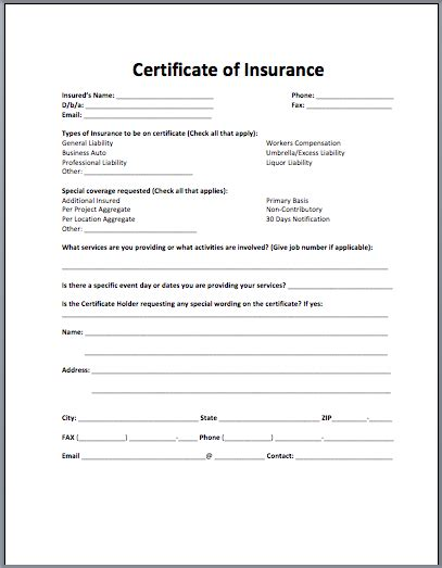 certificate of liability insurance template sle insurance certificate archives microsoft word