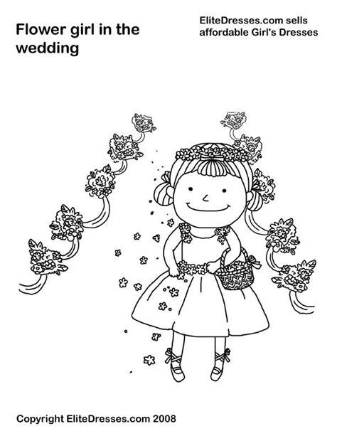 coloring pages flower girl kleurplaat bruidsmeisje thema trouwen pinterest