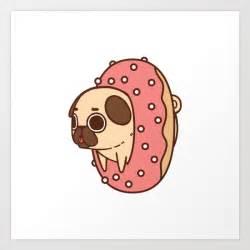 puglie doughnut art print puglie pug society6