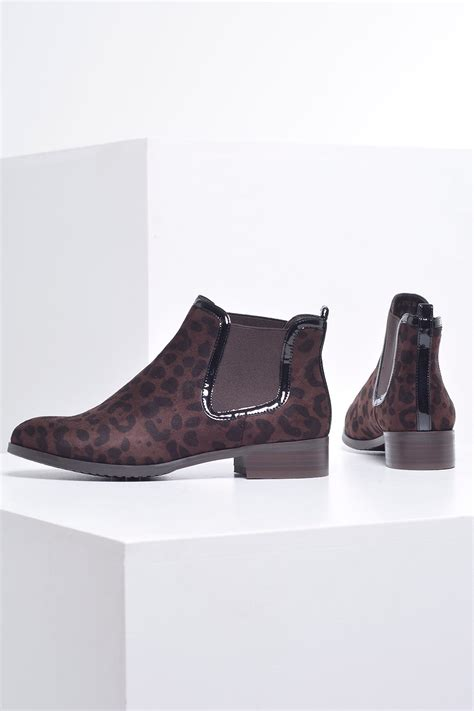 sole city lara animal print ankle boots in brown suede