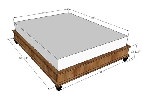 Ana White Chestwick Platform Bed Queen Size Diy Projects Measurements For Size Bed Frame