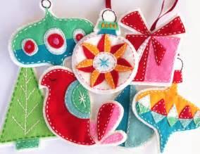 retro felt christmas ornaments pattern set embroidered digital