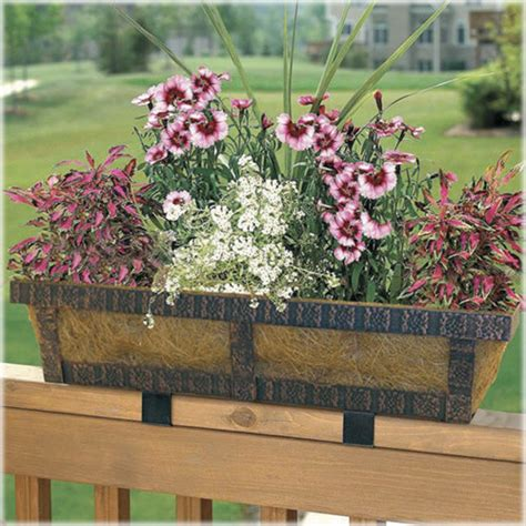 planters for railings embossed adjustable deck railing planter traditional outdoor pots and planters other metro