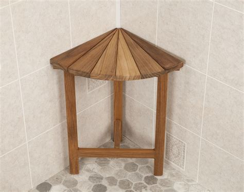 Corner Shower Bench by Teak Corner Fan Shower Benches Teakworks4u
