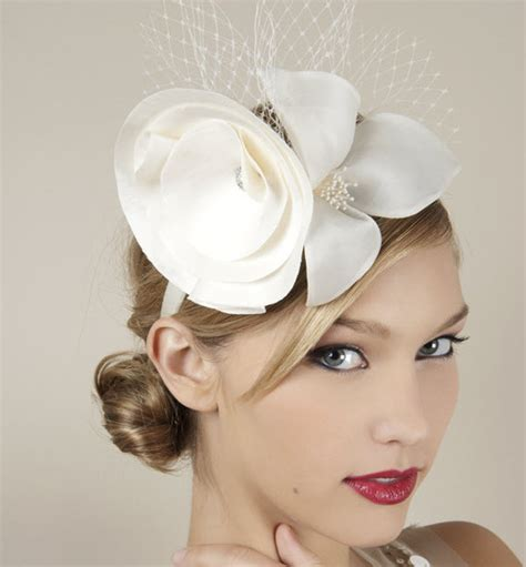 Wedding Hairstyles With Hats by Parisian Chic Ivory Bridal Headband With Satin Flower And