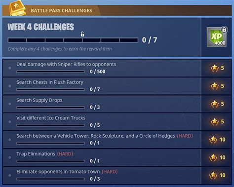 fortnite week 4 challenges fortnite season 3 weekly challenges guide week 6 weekly
