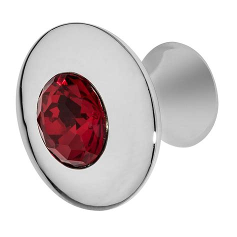 red crystal cabinet knobs wisdom stone felicia 1 1 4 in chrome with red crystal