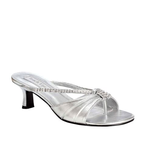 womens silver rhinestone phoebe kitten heel sandal formal