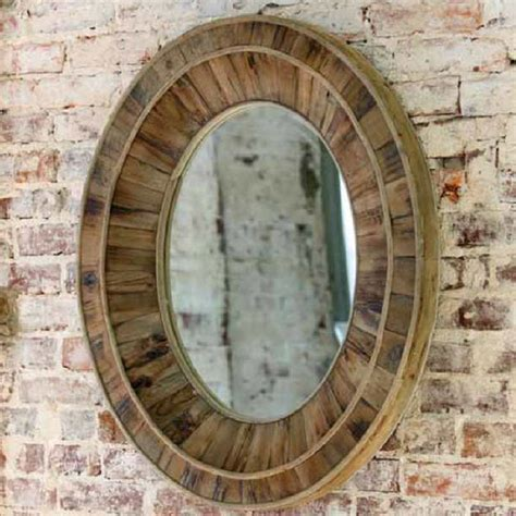 reclaimed wood oval mirror rustic atlanta by iron