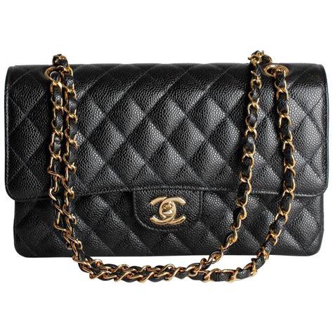 chanel 2 55 caviar medium classic flap bag black