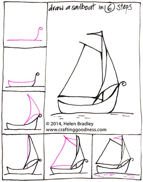 how to draw a boat step by step draw a sail boat step by step crafting goodness