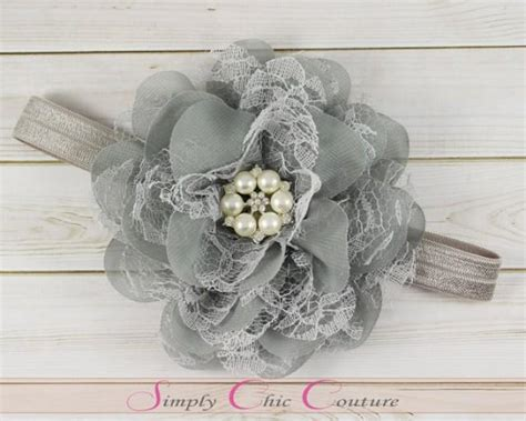 soft pink gray feather and flower newborn headband newborn gray flower headband wedding headband grey baby