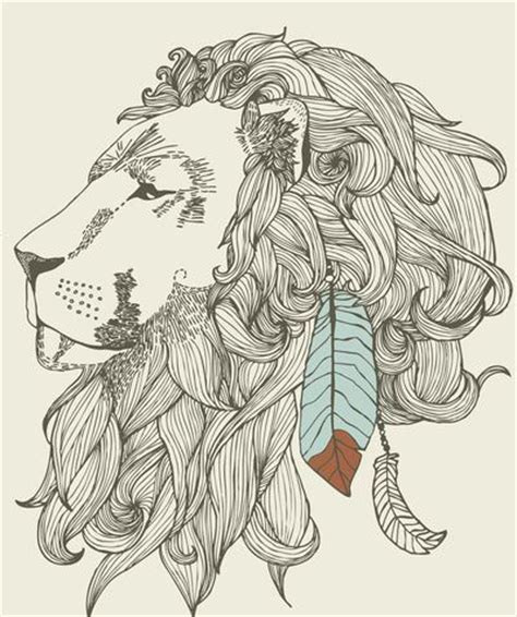 pattern drawing lion line drawing of feathered lion head illustration ill