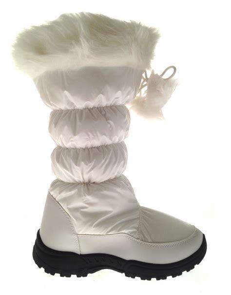womens tall fur lined pom pom snow boots ski moon jogger