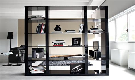 glass bookcase shelves modern  wall dividers