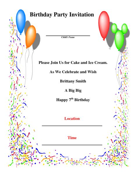 Birthday Party Invitations Template Theruntime Com Birthday Invitation Card Template