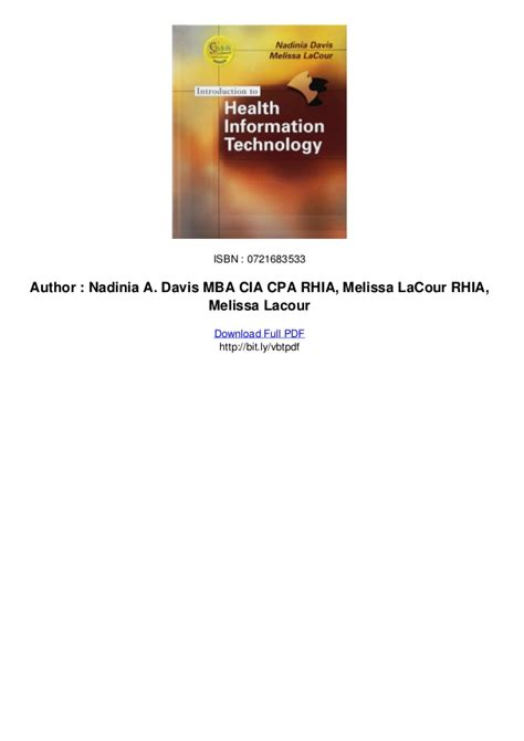 Information Technology Mba Pdf by Introduction To Health Information Technology Pdf