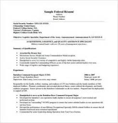 Federal Sle Resume by Federal Resume Template 10 Free Word Excel Pdf Format Free Premium Templates