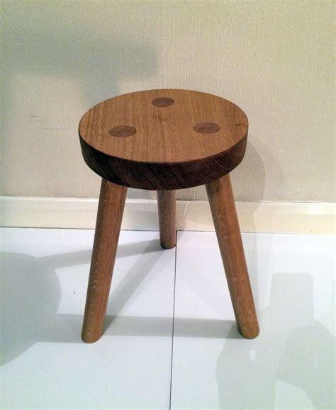 made solid oak 3 legged stool
