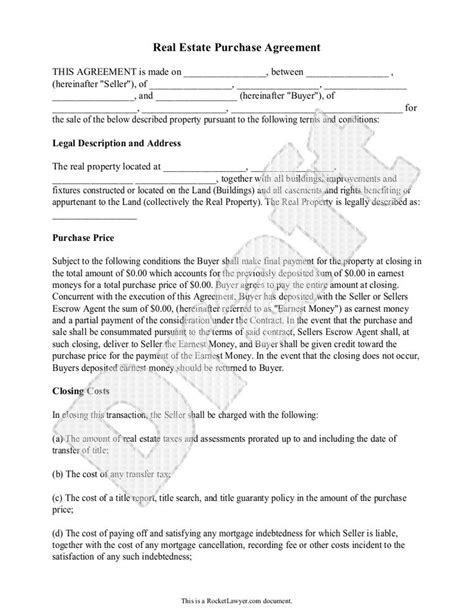 Agreement Letter For Selling A Property Real Estate Purchase Agreement Form Free Templates With Sle Free Purchase Agreement
