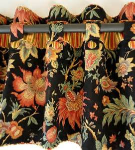 Black Floral Valance window valance custom tabs black floral drapery fabric buttons cordin