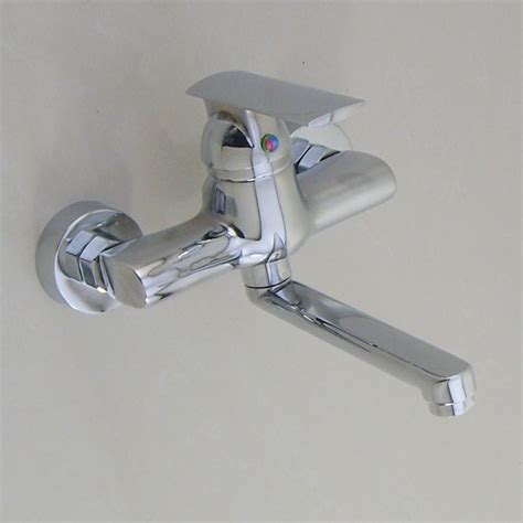 wall mounted chrome single handle kitchen sink faucet