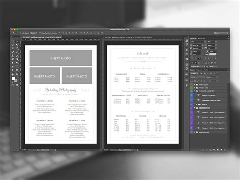 photoshop template list wedding photographer pricing guide psd template v3 on behance