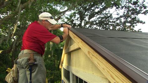 install roof shingles   shed youtube