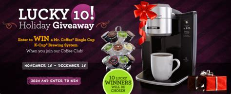 K Cup Sweepstakes - mr coffee lucky 10 holiday giveaway sweepstakes win a mr coffee k cup brewing system