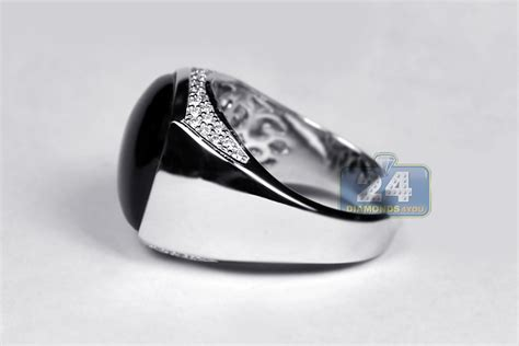 18k white gold 0 40 ct cabochon onyx mens ring