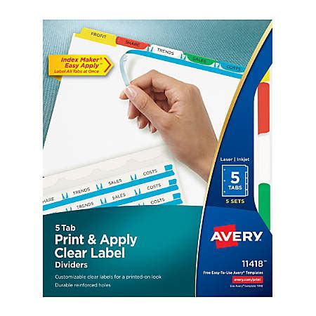 Avery Print Apply Clear Label Dividers With Index Maker Easy Apply Printable Label Strip And Easy Apply Label Strips For Avery Index Maker Template
