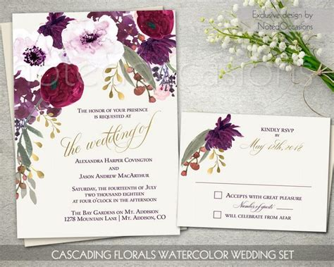 Wine And Gold Template Wedding Invitation Card Sle by Boho Chic Wedding Invitation Printable Set 2562103 Weddbook
