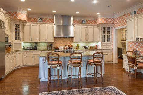 country kitchen wallpaper ideas country kitchen with breakfast bar subway tile in