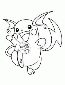 raichu pokemon coloring pages kids pokemon characters printables free wuppsy