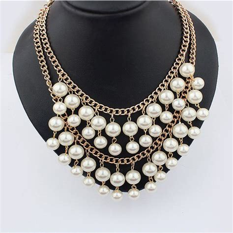 Choker Pearl Gold Chain Layered Choker 2015 multi layer necklace gold pearl jewelry collares statement necklace pearl pendant necklace