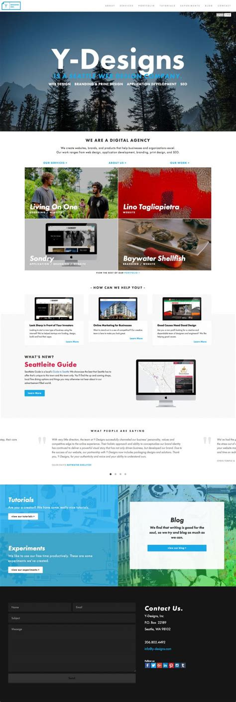 best homepage design inspiration seattle web design and web dev y designs webdesign