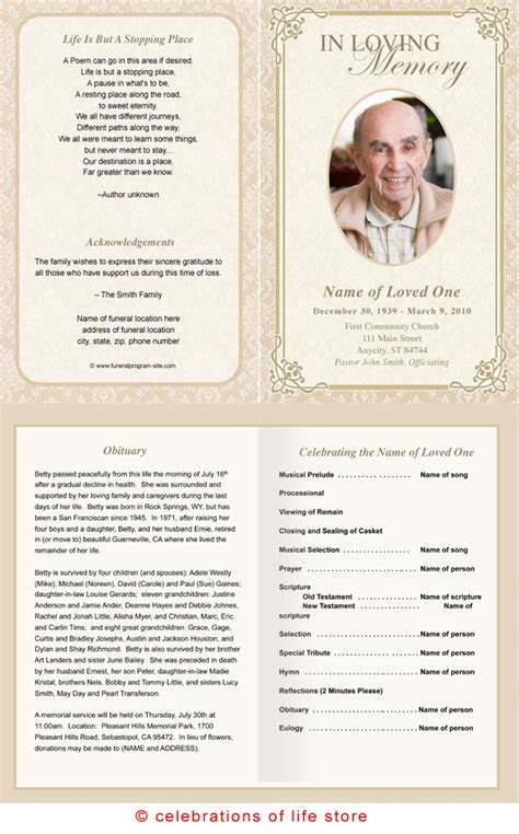 memorial cards templates best photos of funeral service program template sle