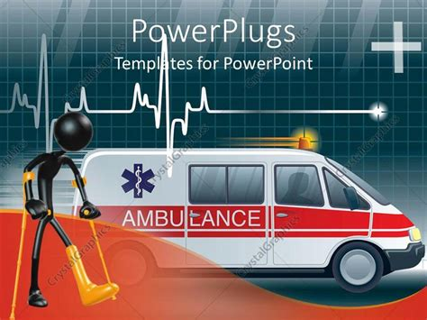 ambulance powerpoint template powerpoint template an ambulance with a heartbeat line