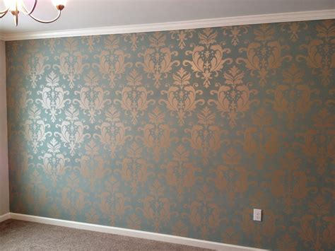 focal wall pushing paint stencilling a focal wall