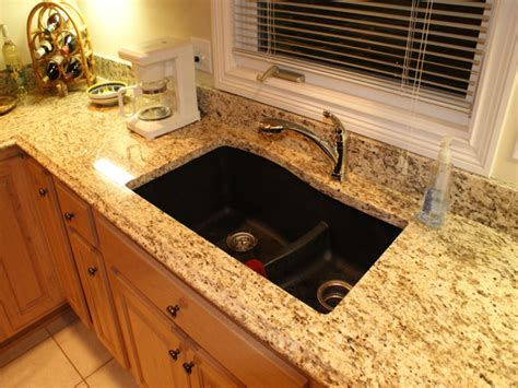 almond kitchen faucet composite granite sink countertops