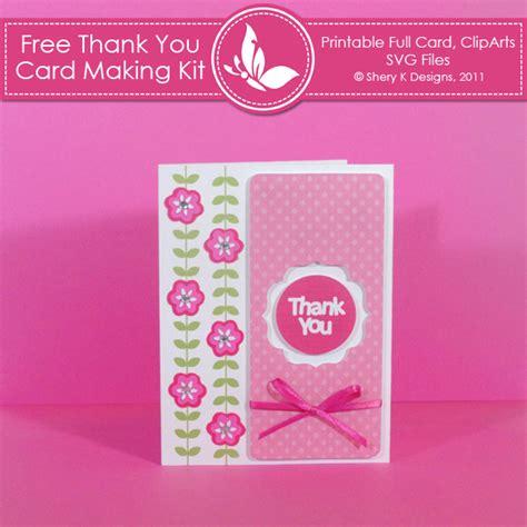 printable thank you card maker free thank you card making kit shery k designs