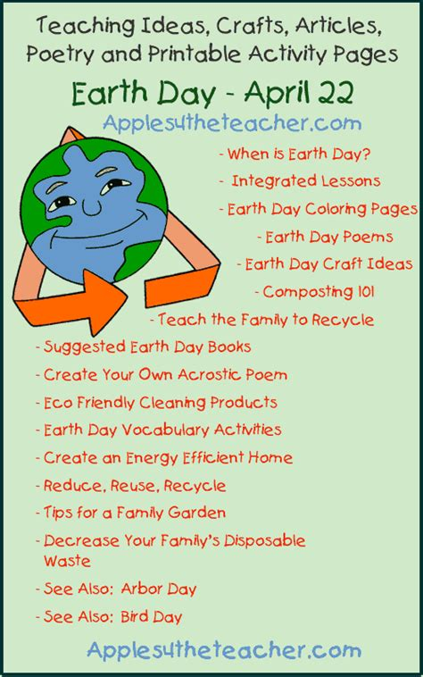 themes for an english day earth day teaching ideas crafts articles poetry and