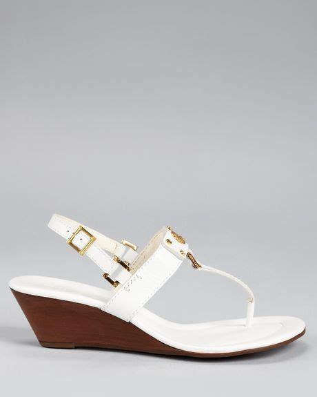 burch white sandals burch sandals robinson demi wedge in white black lyst
